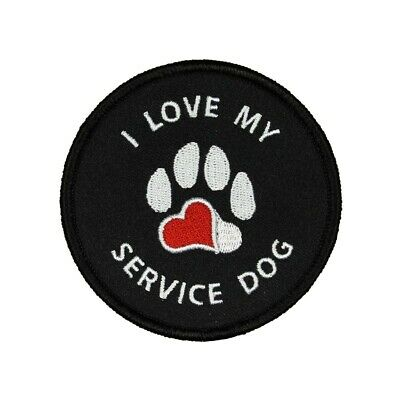 Love Red Dog Pet Paw Iron-On Patch Embroidered Applique Canine Feline Souvenir