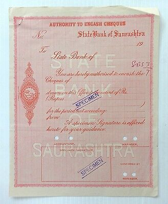 State Bank of Saurahtra Authority to Encash Cheques SPECIMEN - India