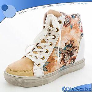 Scarpe donna sneakers ginnastica sportive con zeppa interna fiori ... ae315a99558
