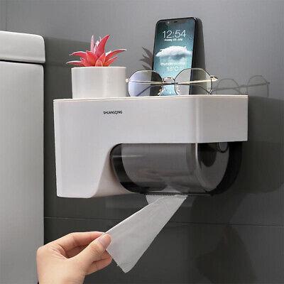 Wall Mounted Self Adhesive Loo Toilet Roll Paper Holder Mobile Phone Holder JI