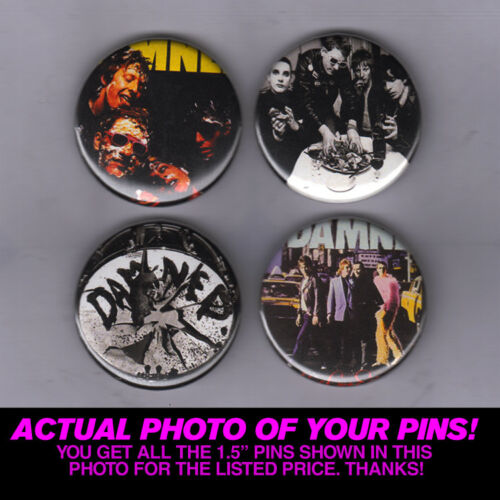 """1.5/"""" PINS vintage punk poster record lp print badge THE DAMNED BUTTONS"""