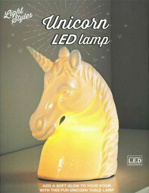 White Ceramic Unicorn Lamp Led Light Girls Bedroom Table Desk Decor Night For Sale Online Ebay