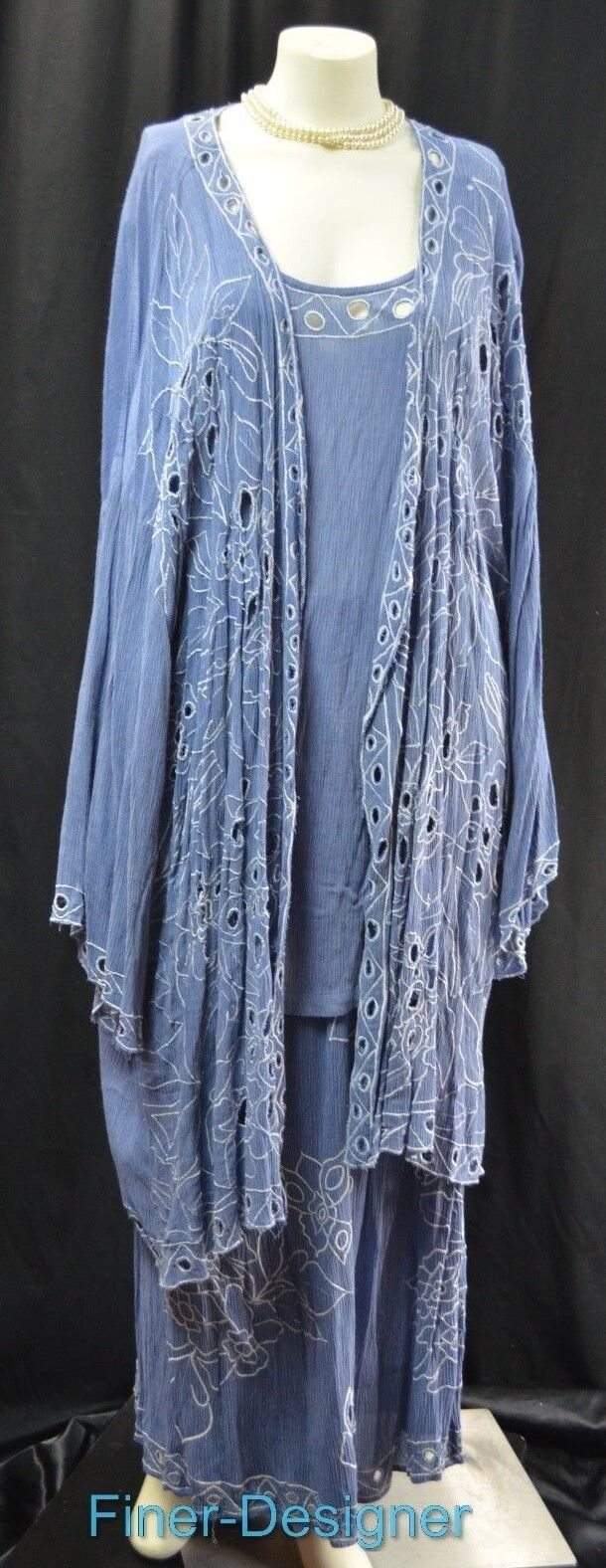 Carole Liz maxi skirt suit shrug cami top embellish 3PC set stretch 4X NWT  140