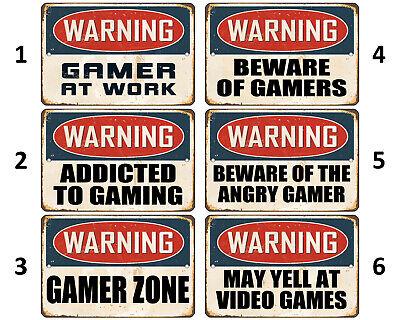 """8""""x12"""" METAL SIGN - GAMER #3 Warning"""