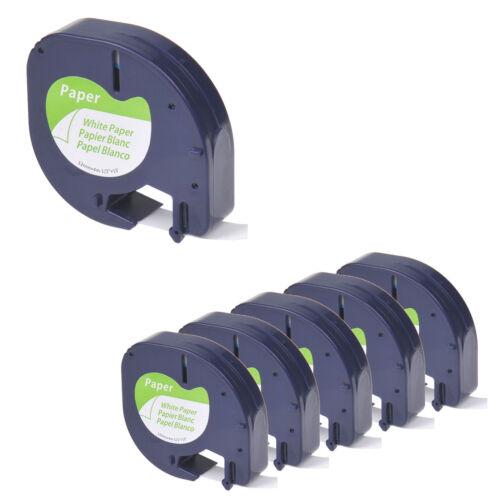 6 Pack for DYMO Letratag Refills Tape 91330 10697 12mm Black on White Paper Tape