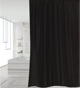 Image Is Loading Clearance Plain Black Fabric Shower Curtain 2m Long