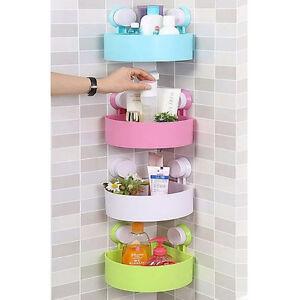 4 color set bathroom accessories corner dial suction shelf for Basket bathroom accessories