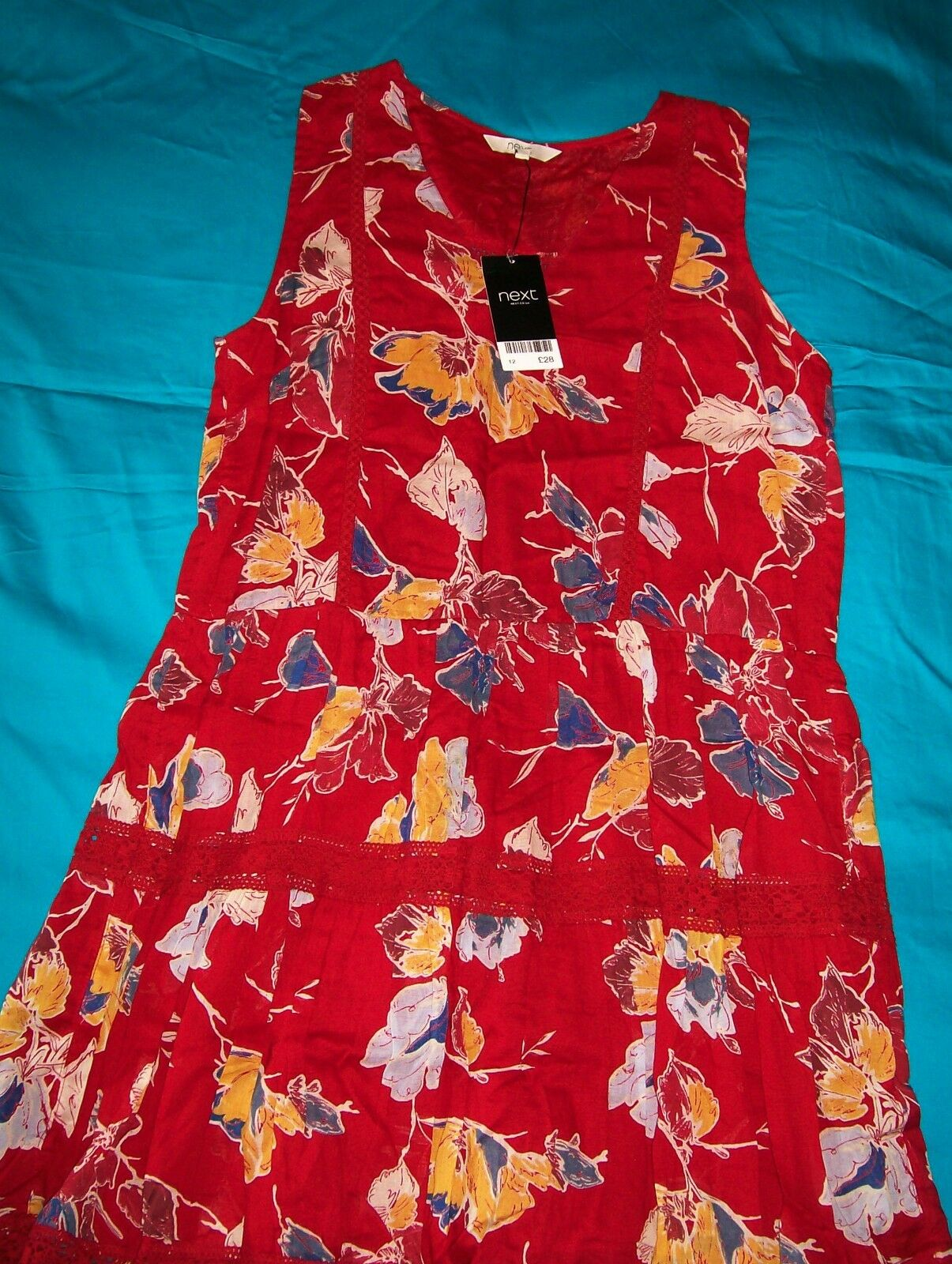 Next Floral Print Dress red 100% cotton knee length Size 14 Brand New Tags BNWT