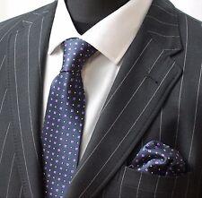 Tie Neck Tie with Handkerchief Navy Blue Purple & White