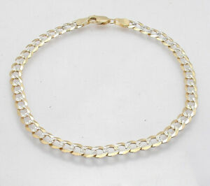 Diamond-Cut-Pave-Solid-Cuban-Curb-Ankle-Bracelet-Anklet-Real-14K-TwoTone-Gold