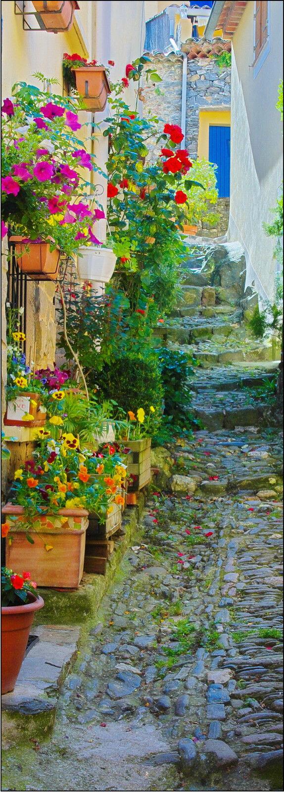 Poster porta decocrazione inganna l'occhio Vicolo fiori fiori fiori ref 725 - 4 dimensioni 3aab73