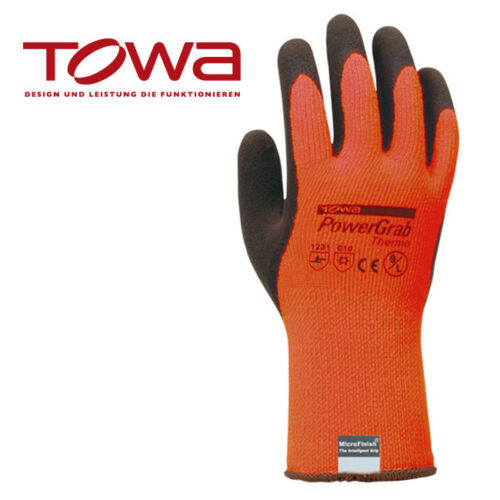 7-11 je 12 Paar TOWA PowerGrab Thermo orange Arbeitshandschuhe Gr