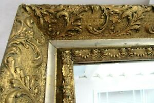 ANTIQUE-GOLD-MIRROR-WOOD-GESSO-ORNATE-FINE-ART-COUNTRY