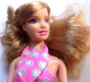 Barbie Doll blonde hair new summer dress purple high heels 2008