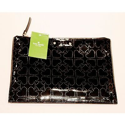 KATE SPADE New York METRO SPADE Black PATENT LEATHER Large Pouch CLUTCH Bag