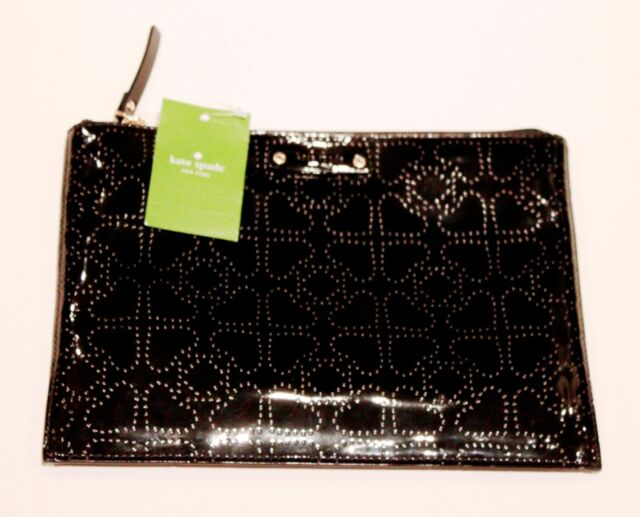 Kate Spade New York Metro Black Patent Leather Large Pouch Clutch Bag