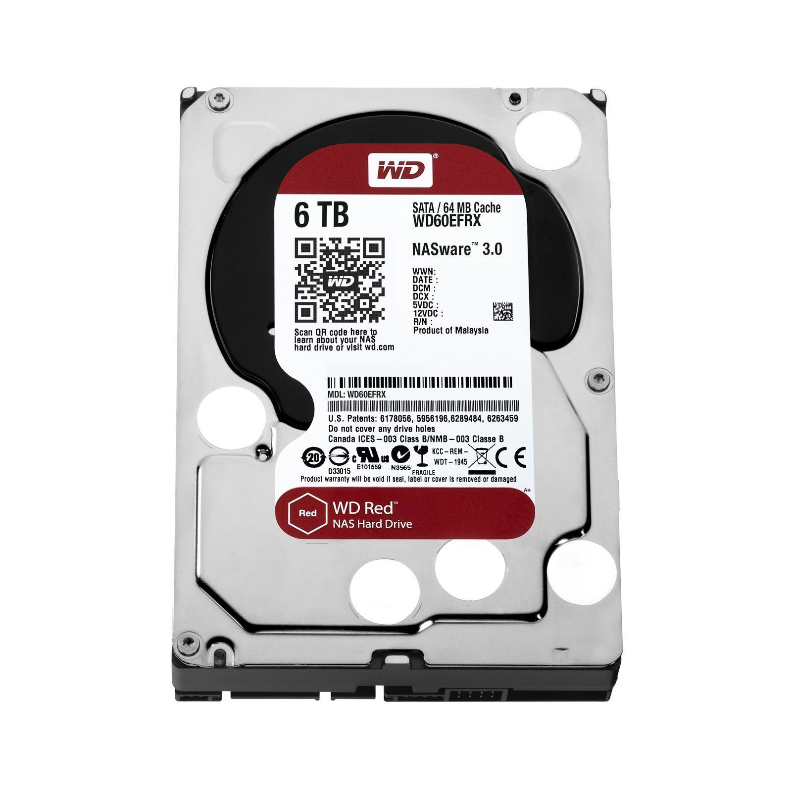 WD Red 6TB NAS HDD 5400RPM SATA 64MB IntelliPower Internal Hard Drive WD60EFRX