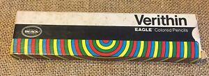 Vintage-Berol-Verithin-Eagle-Carmine-Red-Colored-Pencils-745-Nine-New-In-Box
