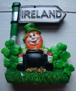 ireland-resin-FRIDGE-MAGNET-IRELAND-SIGNPOST-LEPRECHAUN-SHAMROCKS-POT-of-gold