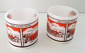 Federal-Glass-Stage-Coach-Store-Upper-Canada-Village-Mug-Vintage-Lot-2-Cups