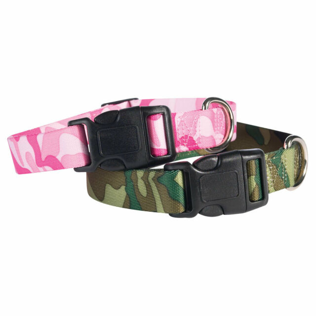 Camo Dog Collars Two Tone Pink Or Green Camouflage