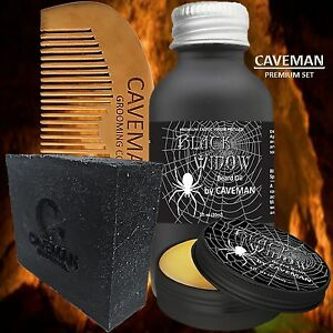 Hand Crafted Caveman® Beard Oil Set Kit Beard Oil Comb Balm Free Beard Soap