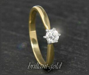 Diamant-585-Gold-Brillant-Solitaer-Ring-0-30ct-River-D-Damen-Verlobungsring-NEU