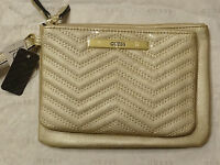 Guess Women's Gold Cleopatra Quilted Top Zip Double Pouch Wristlet Set Sale