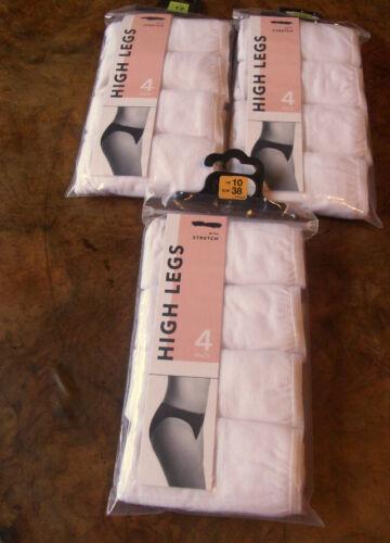 Sale Price New Pack of 4 Ladies High Leg Briefs Sizes 10 12  White Cotton Lycra