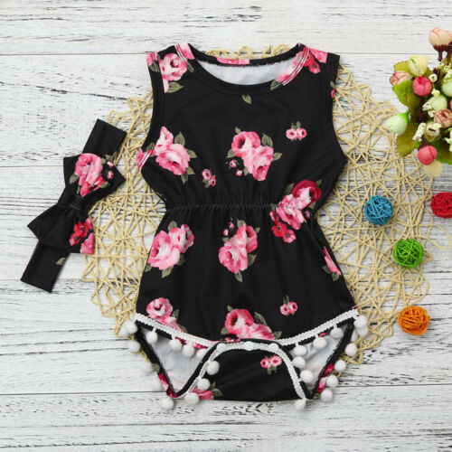 Infant Baby Girl Floral Tassel Jumpsuit Romper Bodysuit Clothes Outfits+Headband