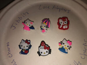Hello-Kitty-Lot-Of-6-Crocs-Shoe-Bracelet-Lace-Adapter-Charms-Jibbitz-4-All-Sz