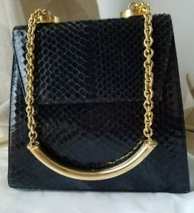Image is loading Vintage-Gianni-Versace-Couture-Black-Python-gold-Chain- 8f96699be8