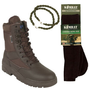 BROWN-PATROL-COMBAT-BOOTS-LEATHER-50-50-TACTICAL-WITH-TROUSER-TWISTS-AND-SOCKS