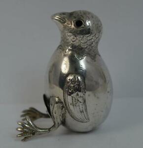 1906-Edwardian-Novelty-Solid-Silver-Chick-Salt-or-Pepper-Pot