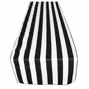 Lovemyfabric Poly Cotton 1 Inch Black White Striped Table Runner
