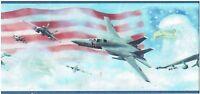 AMERICAN FIGHTER JETS BALD EAGLE US FLAG SKY BLUE Wallpaper bordeR Wall decor