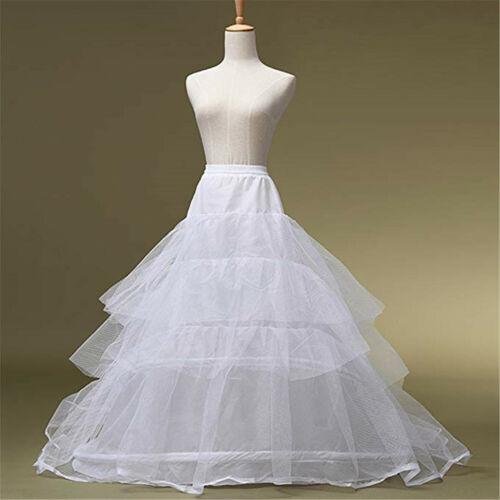Bridal Train Petticoat 2 Hoop Tulle White Crinoline Wedding Slip Underskirt