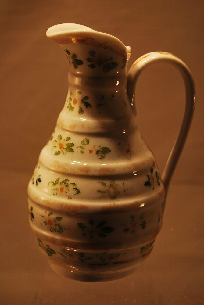 PICHET de DINETTE porcelaine décor fleurettes Ep Louis-Philippe miXIXè 12 cm