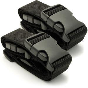 2X Cinghie per Valigia Cintura per Bagagli Borse Corto Cinghia Regolabile Nero