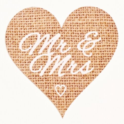 Hessian Burlap Wedding Favour and Decor Labels 72 x Rustic Mr /& Mrs Stickers