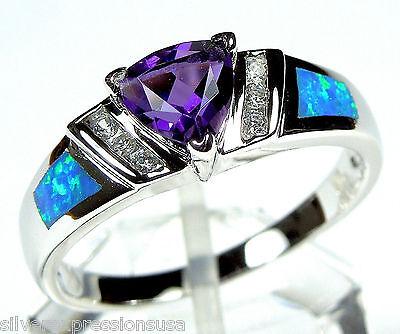 Trillion Cut Amethyst & Blue Fire Opal Inlay 925 Sterling Silver Ring Sz 6,7,8,9