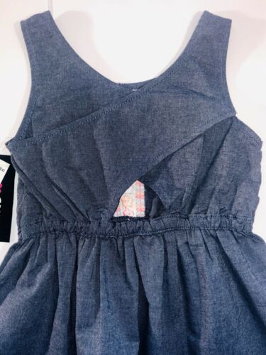 LIMITED TOO Girl Dress Denim With Orange Pink And Teal Colors Sleeveless Size 6
