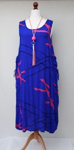 blauw Lagenlook Zomervakantie Size 2 zakken jurk 50 tot buste one lange pXqpRr