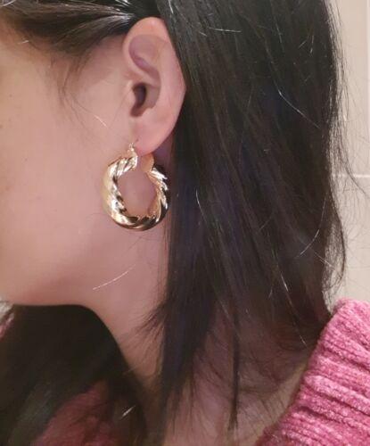 YELLOW GOLD TWISTED CREOLE HOOP EARRINGS WOMENS LADIES 35MM