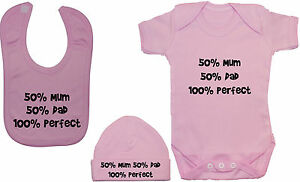 50-Mum-50-Dad-Baby-Grow-Bodysuit-Romper-T-Shirt-Feeding-Bib-amp-Hat-Cap-0-12m