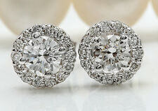 .85CTW Natural VS2-SI1 / G-H Diamonds in 14K Solid White Gold Stud Earrings