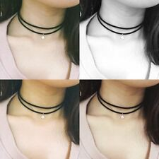 Black Multilayer Velvet Choker Necklace Ribbon Gothic Goth Collar with Crystal