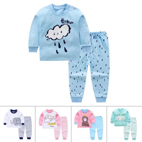 2pc//set Kids Baby Boys Girls Clothes Top+pants Cotton Baby Pajamas Sleepwear