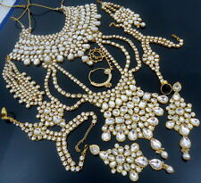 TRADITIONAL WHITE CZ GOLD TONE NECKLACE BRIDAL DULHAN ETHNIC JEWELRY SET 9 PCS