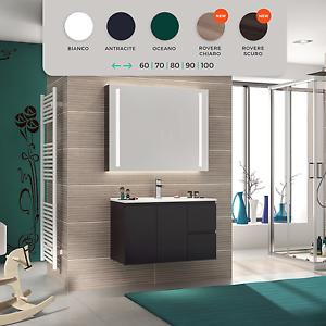 Dettagli su Mobile bagno arredo moderno in legno design sospeso salva  spazio lavabo incluso